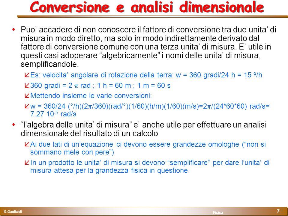 Conversione e analisi dimensionale