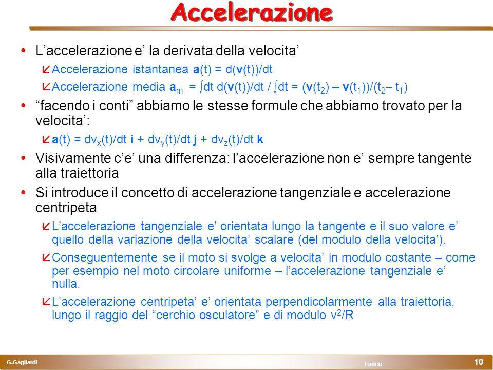 Accelerazione L'accelerazione e' la derivata della velocita'