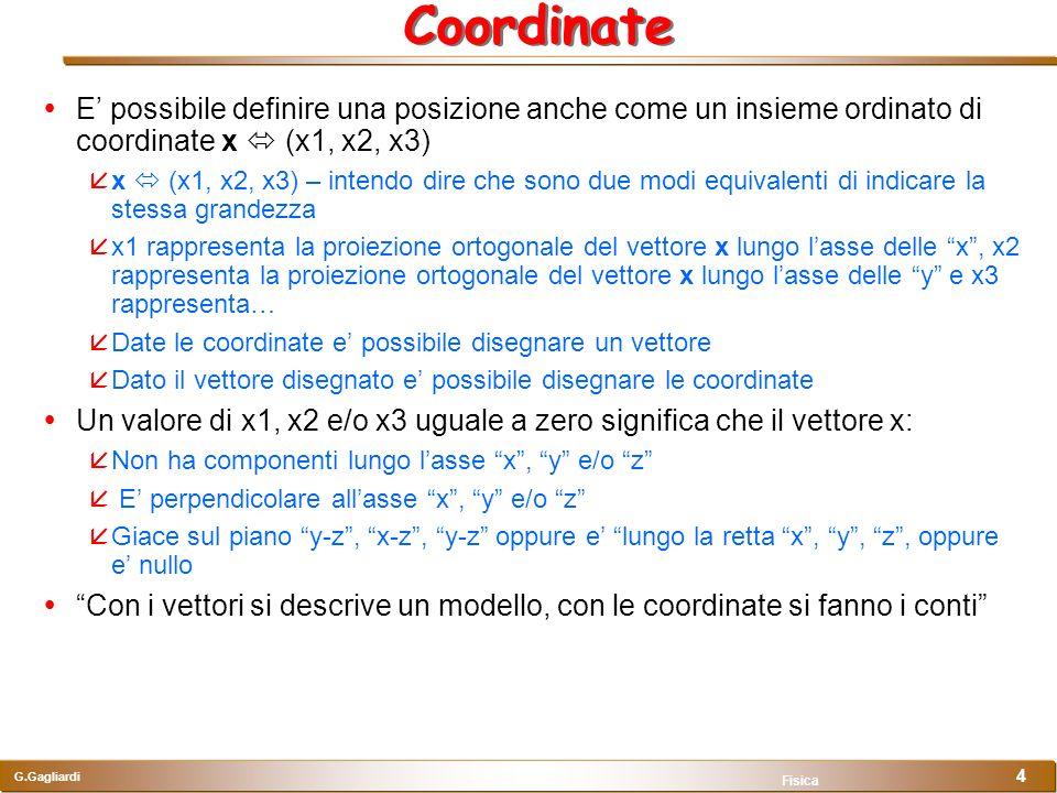 Coordinate E' possibile definire una posizione anche come un insieme ordinato di coordinate x  (x1, x2, x3)