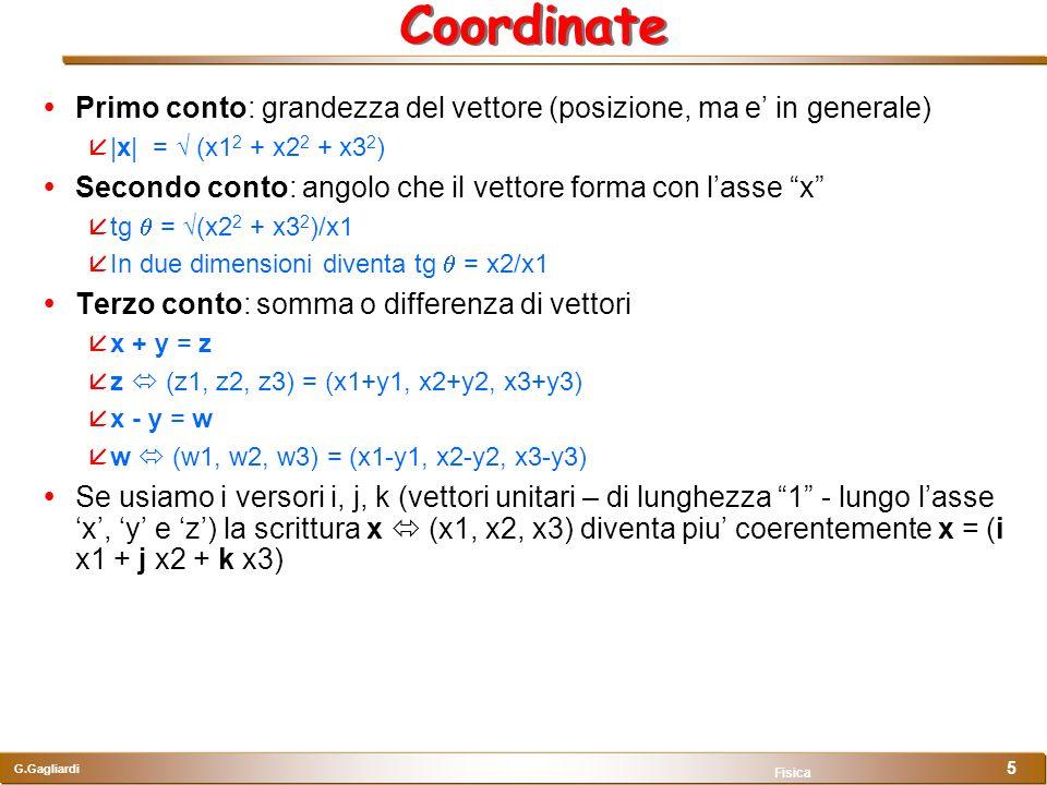 Coordinate Primo conto: grandezza del vettore (posizione, ma e' in generale) |x| = √ (x12 + x22 + x32)