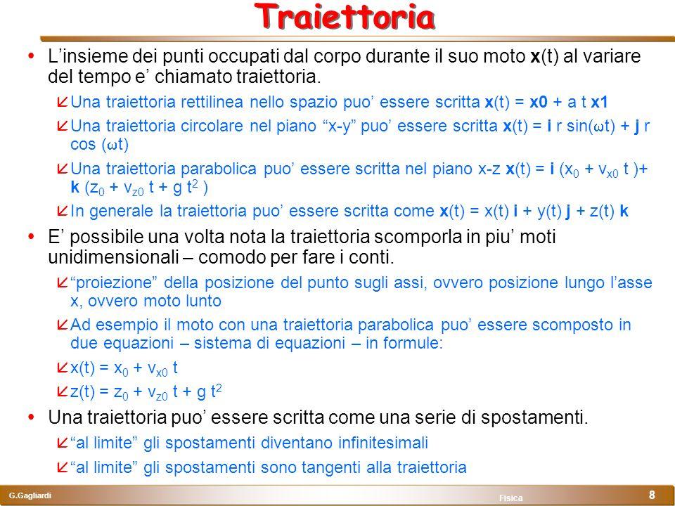 Traiettoria L'insieme dei punti occupati dal corpo durante il suo moto x(t) al variare del tempo e' chiamato traiettoria.