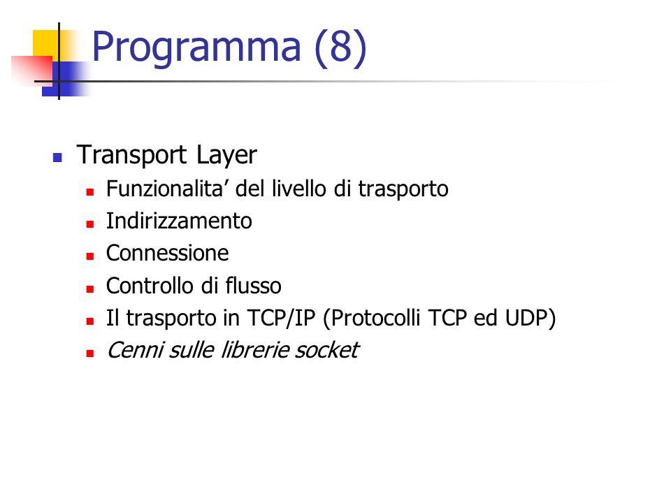 Programma (8) Transport Layer Funzionalita' del livello di trasporto