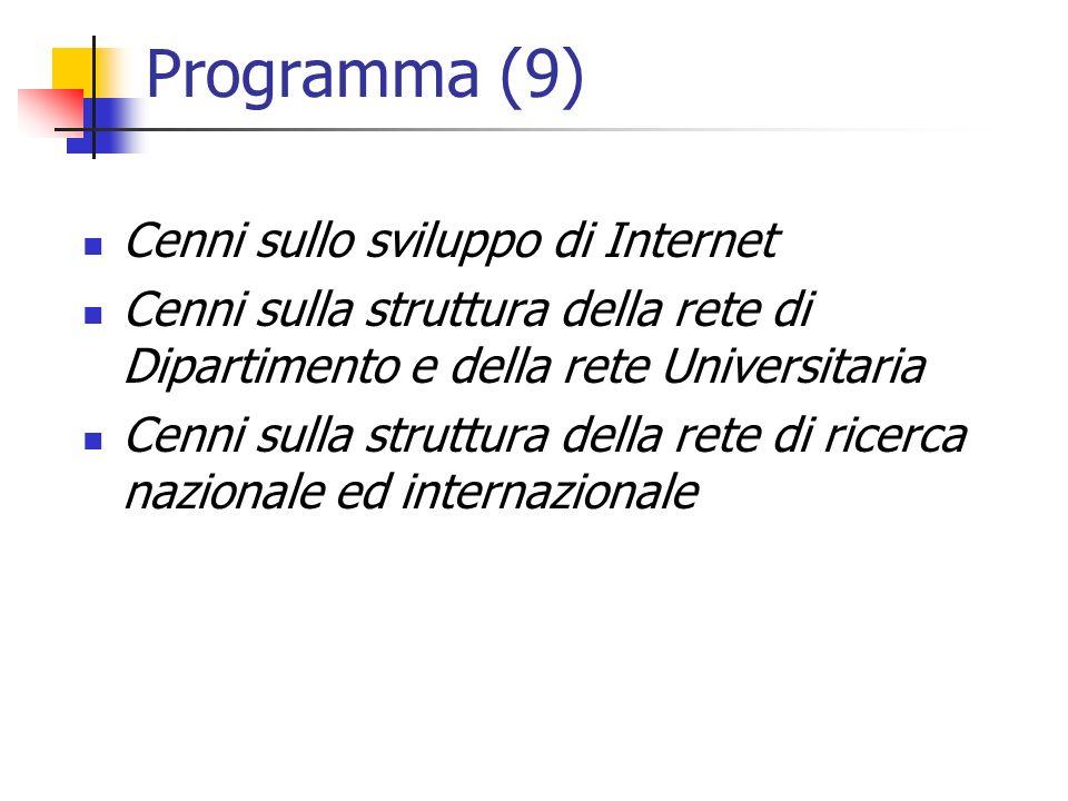 Programma (9) Cenni sullo sviluppo di Internet