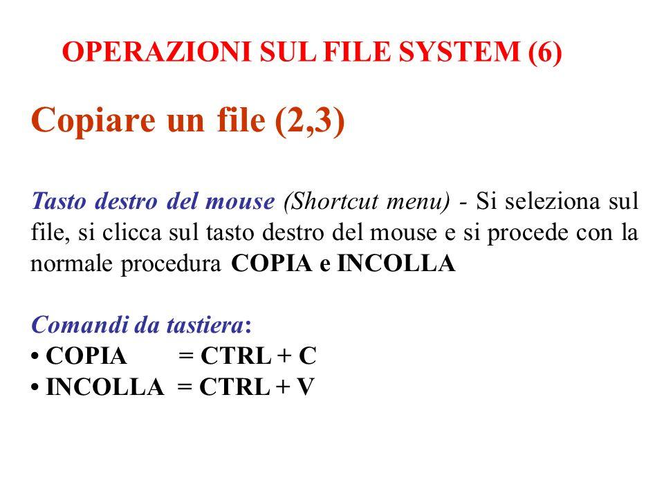 Copiare un file (2,3) OPERAZIONI SUL FILE SYSTEM (6)