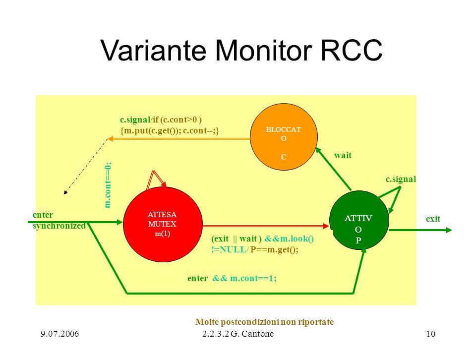 Variante Monitor RCC BLOCCATO. C. c.signal/if (c.cont>0 ) {m.put(c.get()); c.cont--;} wait. m.cont==0;