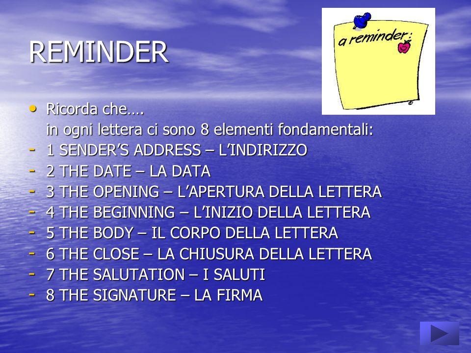 REMINDER Ricorda che…. in ogni lettera ci sono 8 elementi fondamentali: 1 SENDER'S ADDRESS – L'INDIRIZZO.
