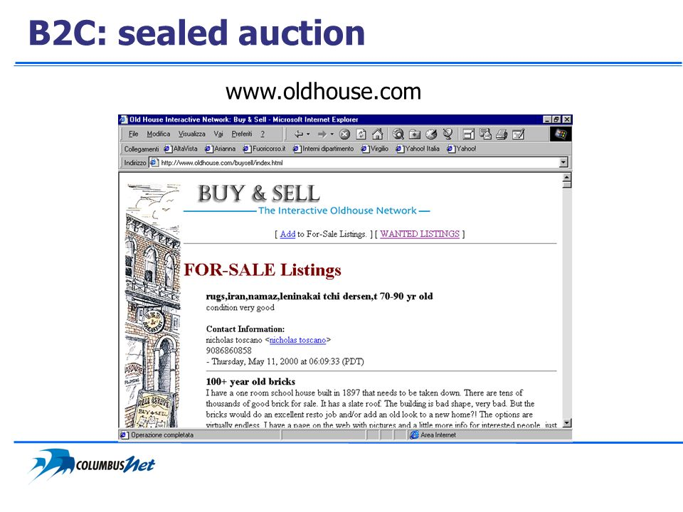B2C: sealed auction www.oldhouse.com
