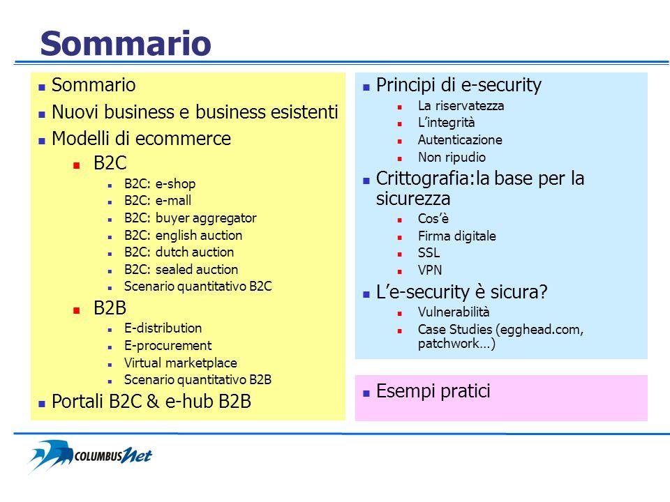Sommario Sommario Nuovi business e business esistenti