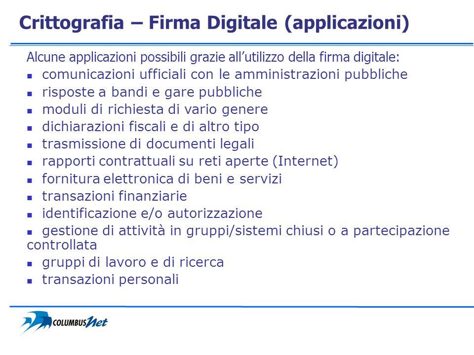 Crittografia – Firma Digitale (applicazioni)