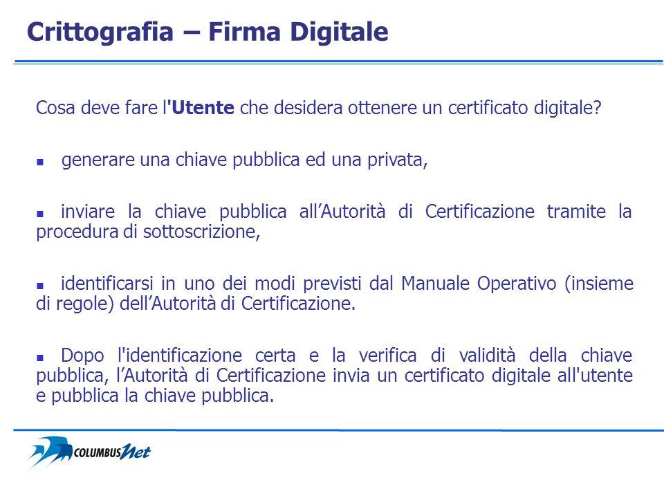 Crittografia – Firma Digitale