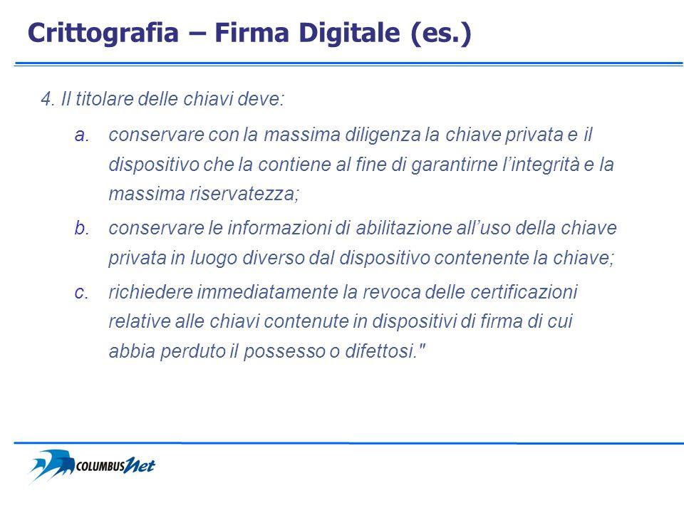 Crittografia – Firma Digitale (es.)