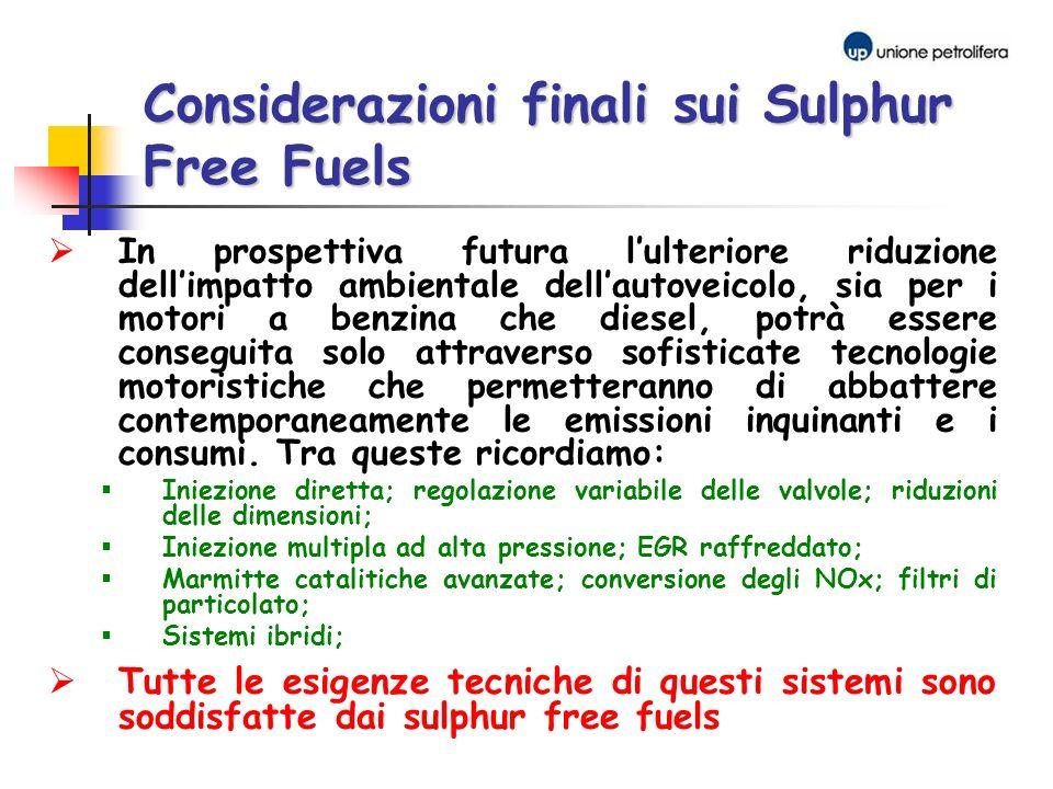 Considerazioni finali sui Sulphur Free Fuels
