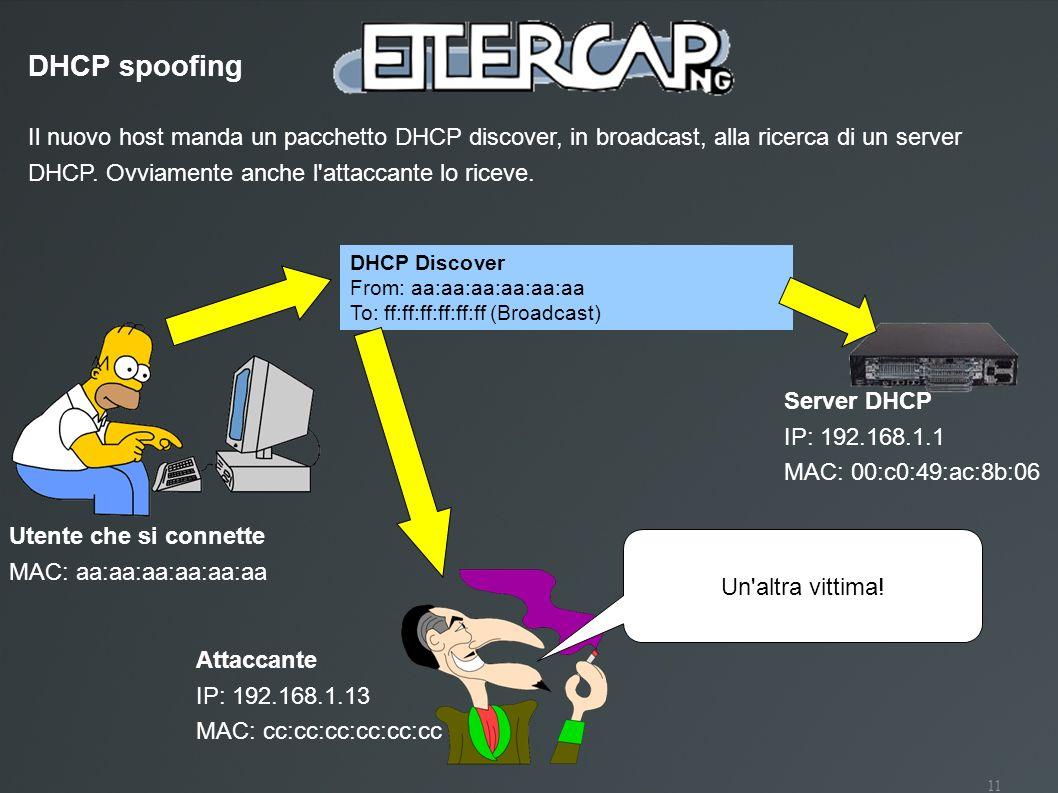 DHCP spoofingIl nuovo host manda un pacchetto DHCP discover, in broadcast, alla ricerca di un server DHCP. Ovviamente anche l attaccante lo riceve.