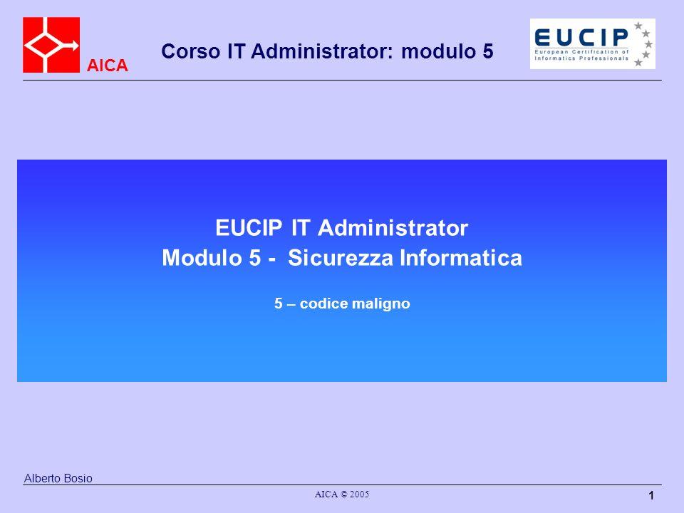 EUCIP IT Administrator Modulo 5 - Sicurezza Informatica 5 – codice maligno