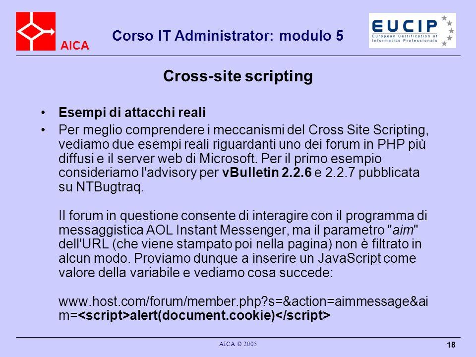Cross-site scripting Esempi di attacchi reali