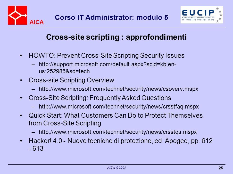 Cross-site scripting : approfondimenti
