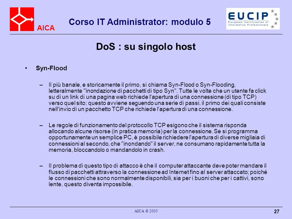 DoS : su singolo host Syn-Flood