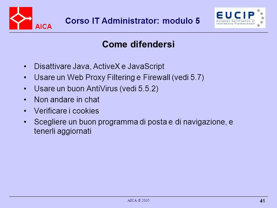 Come difendersi Disattivare Java, ActiveX e JavaScript