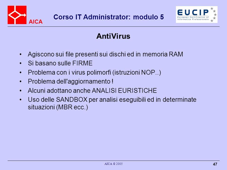 AntiVirus Agiscono sui file presenti sui dischi ed in memoria RAM