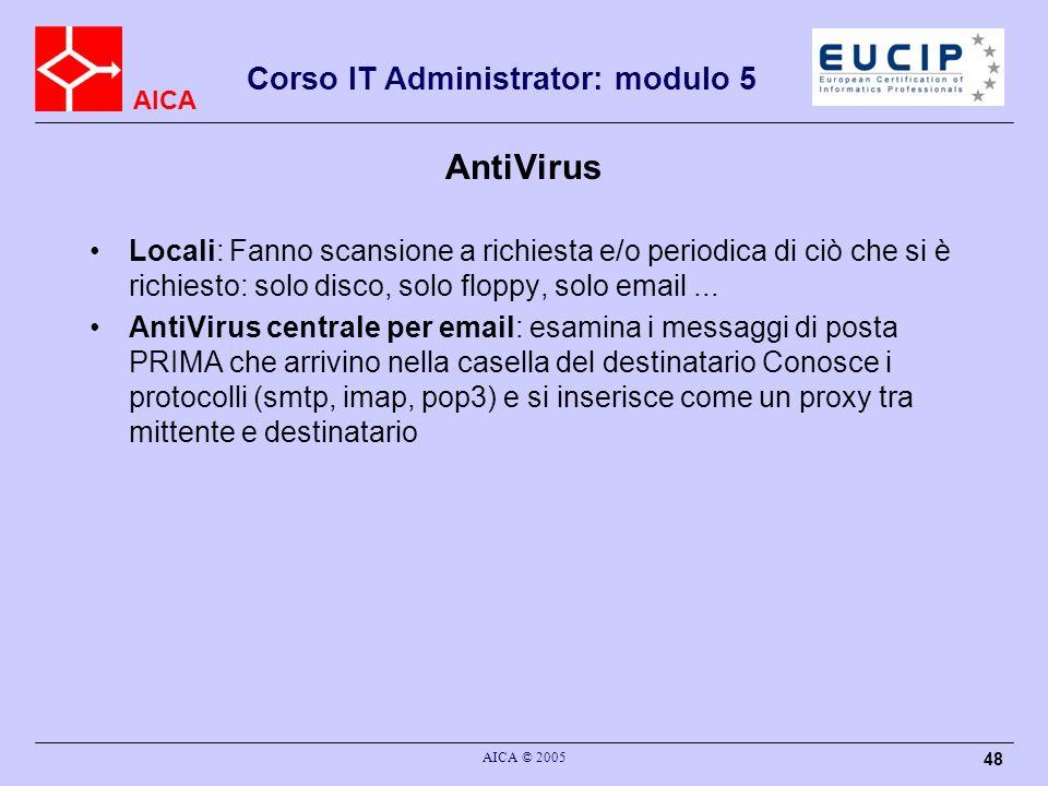 AntiVirus Locali: Fanno scansione a richiesta e/o periodica di ciò che si è richiesto: solo disco, solo floppy, solo email ...