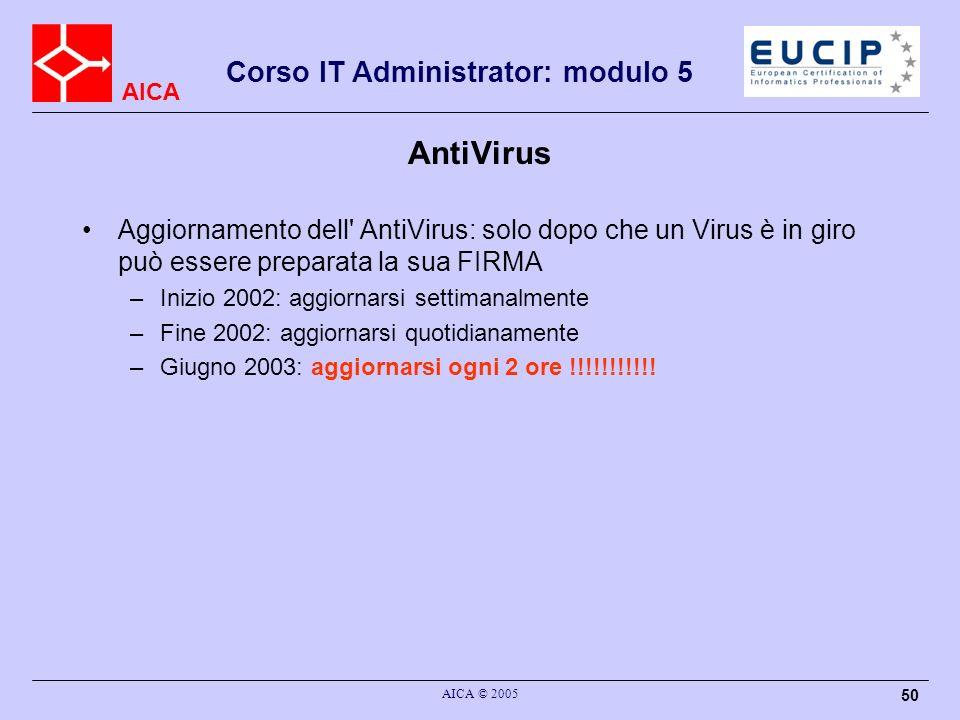 AntiVirus Aggiornamento dell AntiVirus: solo dopo che un Virus è in giro può essere preparata la sua FIRMA.