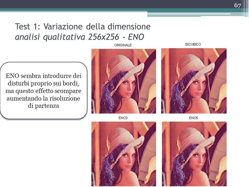 Test 1: Variazione della dimensione analisi qualitativa 256x256 - ENO
