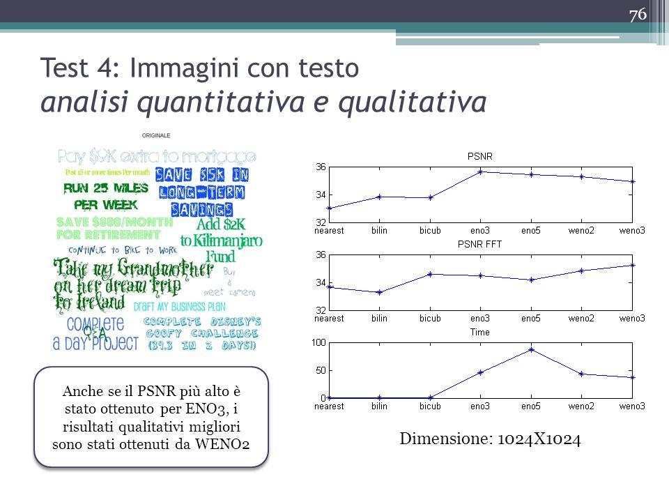 Test 4: Immagini con testo analisi quantitativa e qualitativa