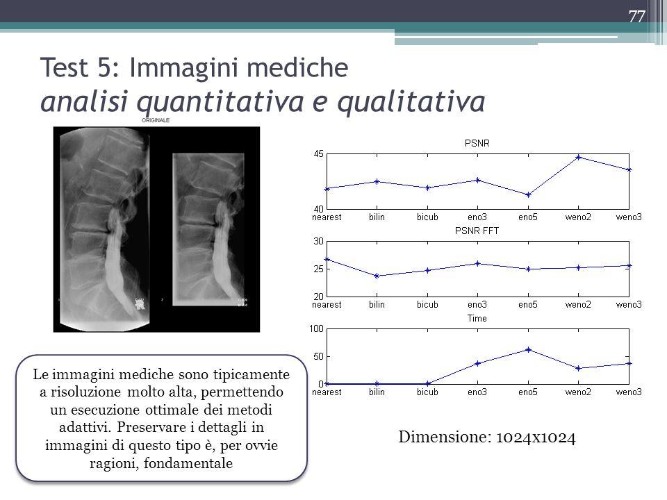 Test 5: Immagini mediche analisi quantitativa e qualitativa