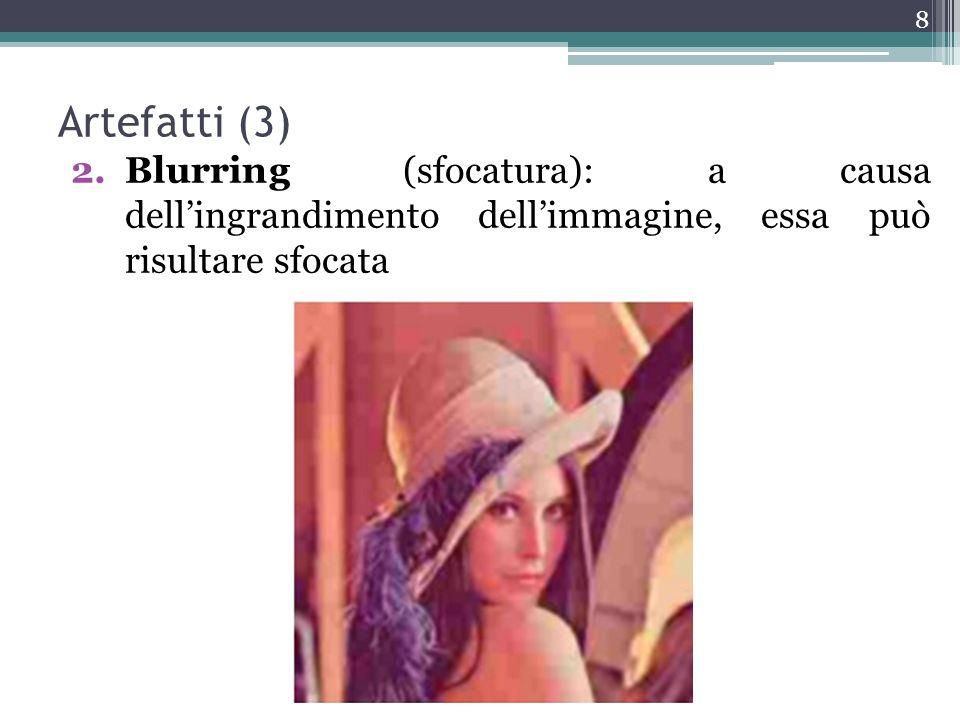 Artefatti (3) Blurring (sfocatura): a causa dell'ingrandimento dell'immagine, essa può risultare sfocata.