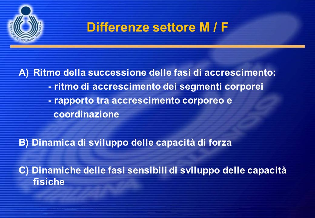 Differenze settore M / F