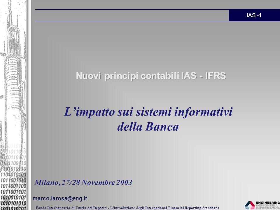 Nuovi principi contabili IAS - IFRS
