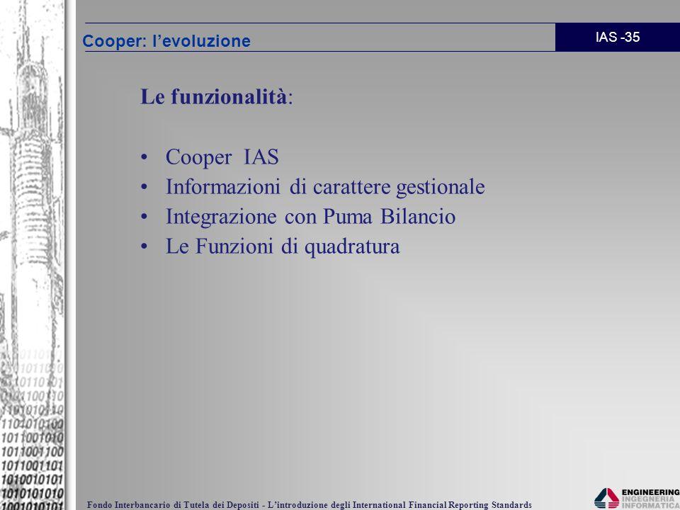 Informazioni di carattere gestionale Integrazione con Puma Bilancio