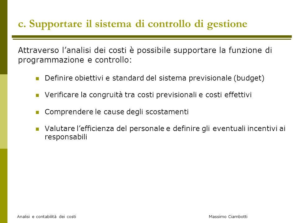 c. Supportare il sistema di controllo di gestione