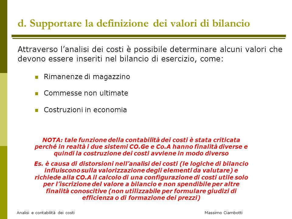d. Supportare la definizione dei valori di bilancio