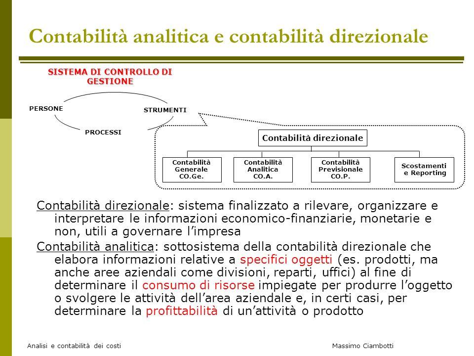 Contabilità analitica e contabilità direzionale