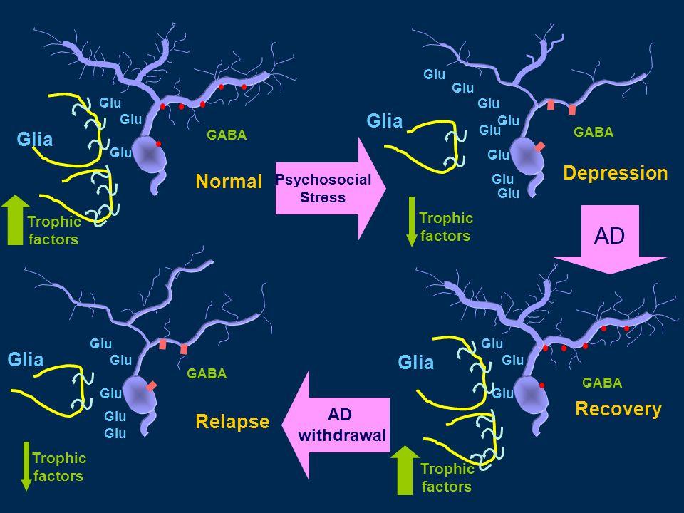 AD Glia Glia Depression Normal Glia Glia Recovery Relapse AD