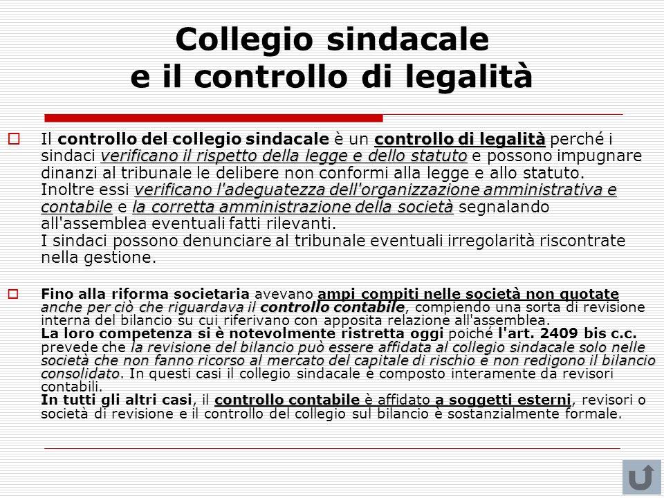 Collegio sindacale e il controllo di legalità