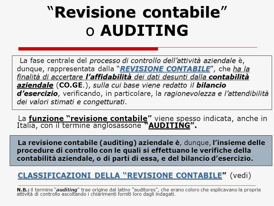 Revisione contabile o AUDITING