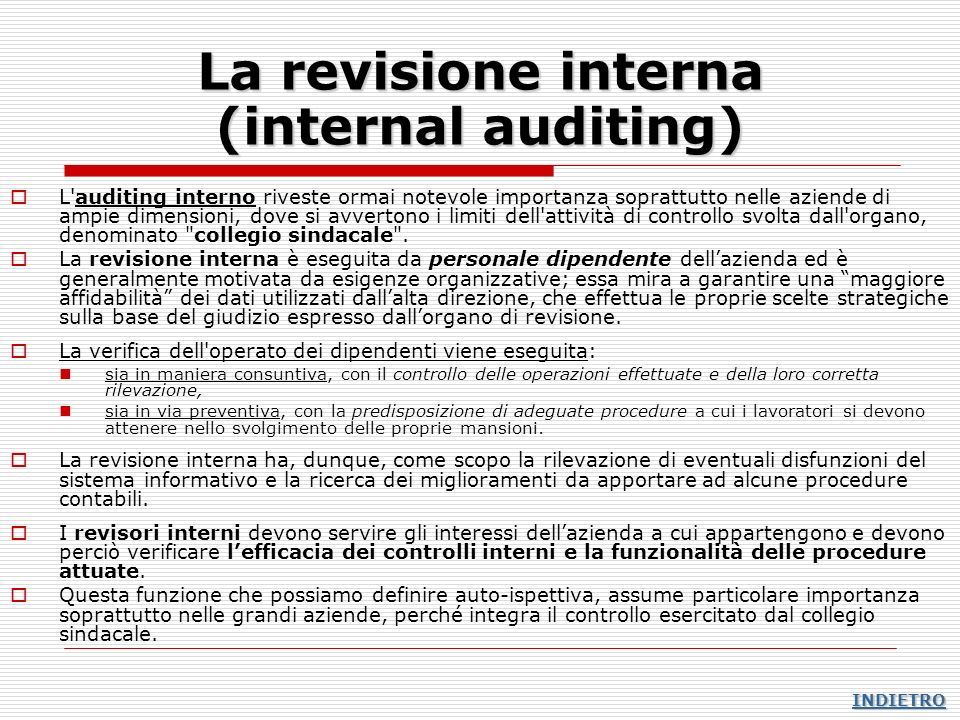 La revisione interna (internal auditing)