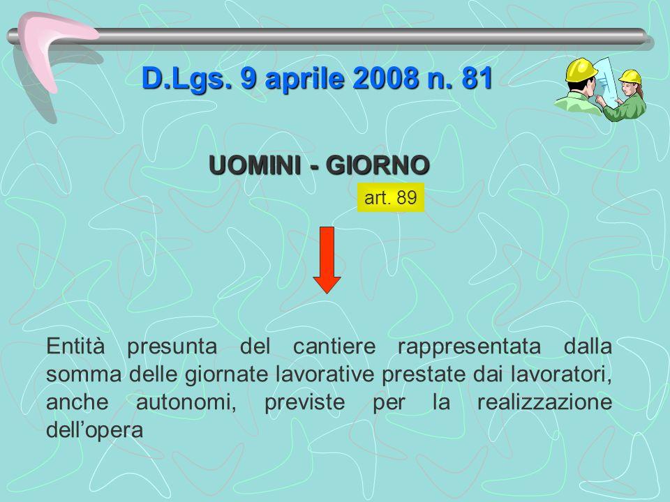 D.Lgs. 9 aprile 2008 n. 81 UOMINI - GIORNO