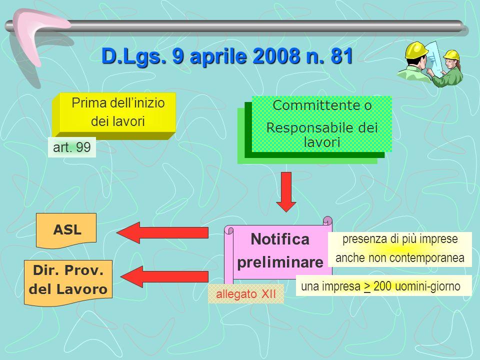 D.Lgs. 9 aprile 2008 n. 81 Notifica preliminare Prima dell'inizio
