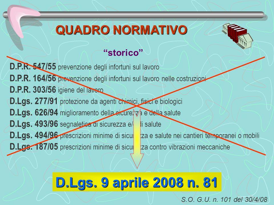 D.Lgs. 9 aprile 2008 n. 81 QUADRO NORMATIVO storico