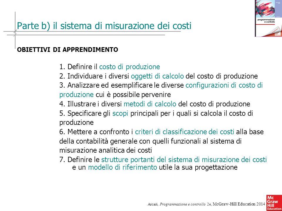 Parte b) il sistema di misurazione dei costi