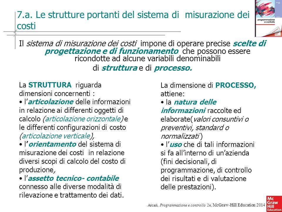 7.a. Le strutture portanti del sistema di misurazione dei costi