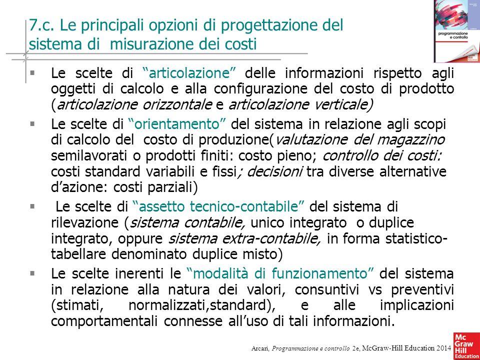 7.c. Le principali opzioni di progettazione del sistema di misurazione dei costi
