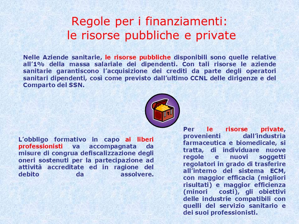 Regole per i finanziamenti: le risorse pubbliche e private