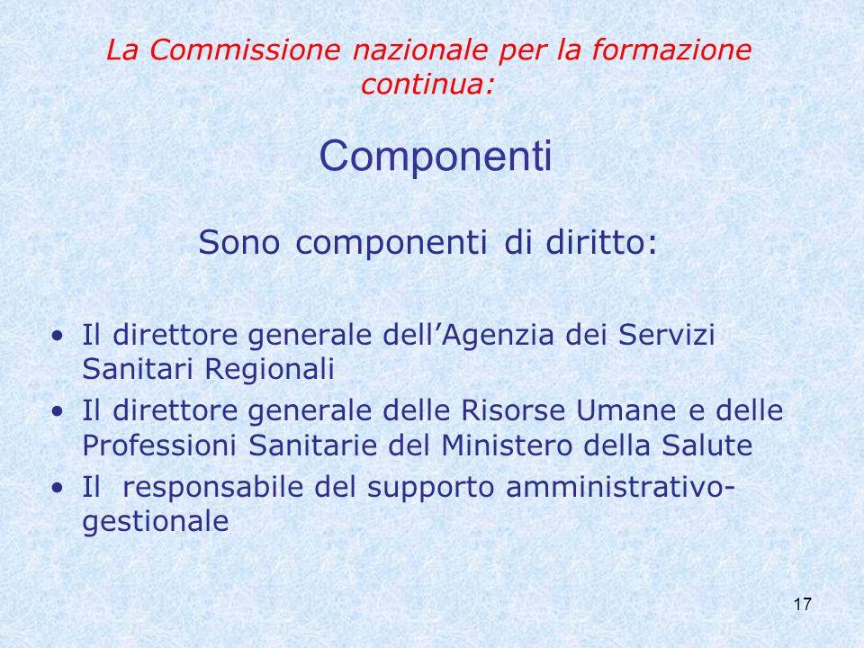 La Commissione nazionale per la formazione continua: Componenti