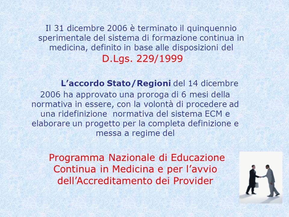 Il 31 dicembre 2006 è terminato il quinquennio sperimentale del sistema di formazione continua in medicina, definito in base alle disposizioni del D.Lgs. 229/1999