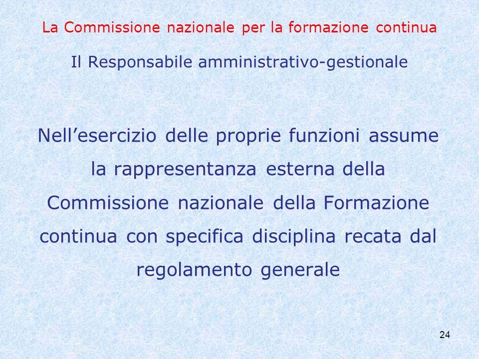 La Commissione nazionale per la formazione continua Il Responsabile amministrativo-gestionale