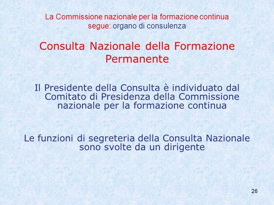 La Commissione nazionale per la formazione continua segue: organo di consulenza Consulta Nazionale della Formazione Permanente